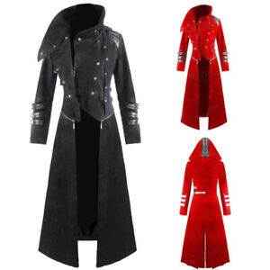 Gothic-Medieval-Retro-Mens-Steampunk-PUNK-Costume-Long-Windbreaker-Jacket-Coats