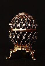 "St Petersburg Russian Faberge Egg: Easter Egg Trinket Box, 1.2"" ""2-Line Net"""