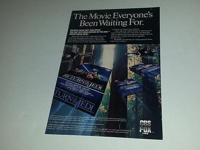 CBS Fox Video Star Wars Return of the Jedi ROTJ on VHS Ad 1983 5x7.5