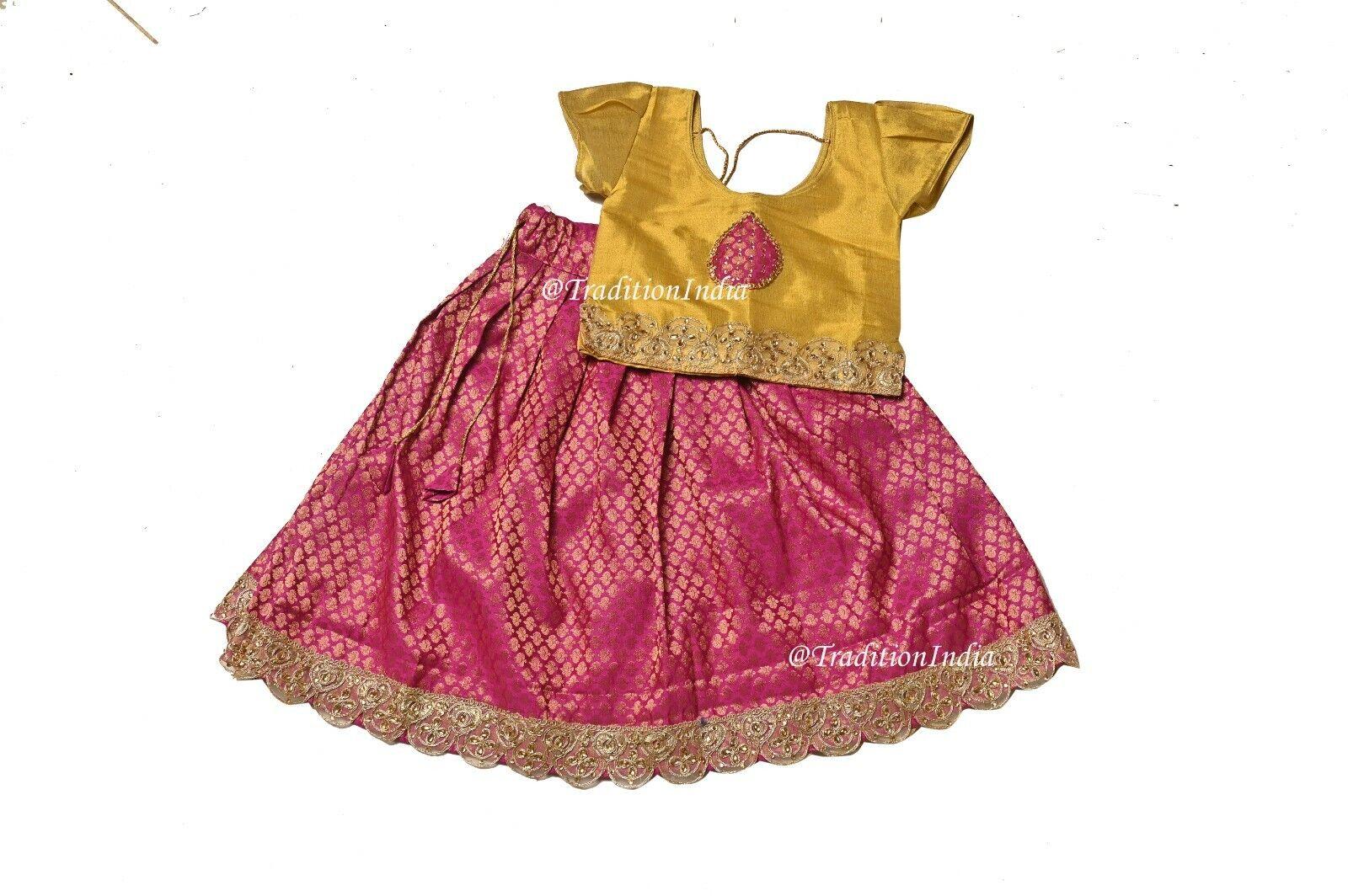 Little Girls Pavadai Set, Readymade Kids Lehenga, Festive Ethnic Wear,