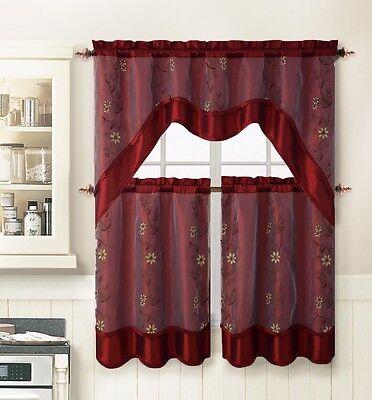 Burgundy 3 Pc. Kitchen Window Curtain Set: 2 Layer,Embroidered 2 Tiers+1 Valance