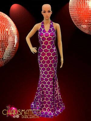 CHARISMATICO Diva Drag Queen Swanky honeycomb pattern Fuchsia sequin pageantgown