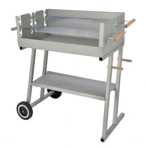 Jardinion Design Grillwagen Stahl Holzkohle Grill BBQ 2 Grillroste verchromt