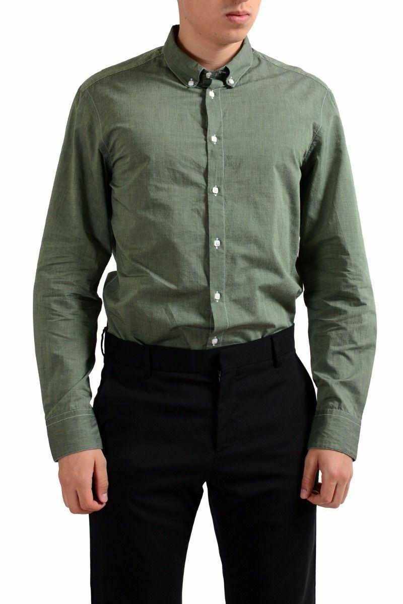 Armani  Collezioni hombres verde Pulsante Anteriore Manica Lunga Camicia Casual  servicio honesto
