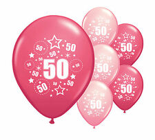 """10 x 50TH BIRTHDAY PINK MIX 12"""" HELIUM OR AIRFILL BALLOONS (PA)"""