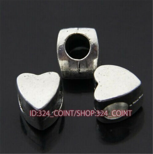 P394A 50pc Tibetan Silver Charm heart Spacer Beads accessories wholesale