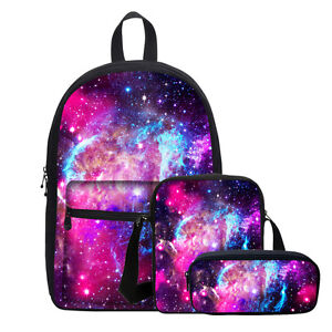 7bf90624b2d S 3 Galaxy Design Rucksack Backpack Canvas Shoulder Bag Girls Space ...