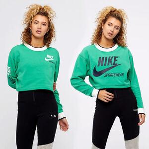 Details zu Nike Damen Sportkleidung Abgeschnitten Doppelseitig Crew Neu Sweatshirt