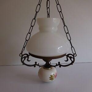 Eclairage-lustre-suspension-cuivre-faience-opaline-art-nouveau-deco-PN-France