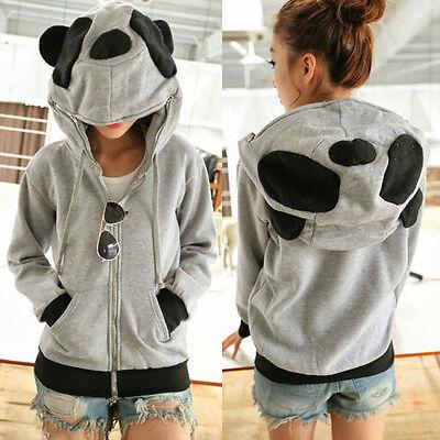 Women Cute Zip-up Panda Ears Womens Hoodie Outwear Kigurumi Sweat Sweatshirt Top