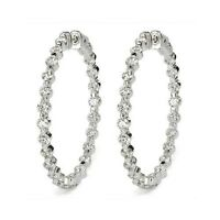 4.00 ct F VS2 ROUND BRILLIANT CUT DIAMOND HOOP EARRINGS