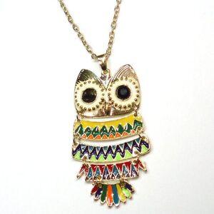 Details zu Halskette Eule Bunt große Augen Eulenkette Uhu Kauz Kette Owl Necklace