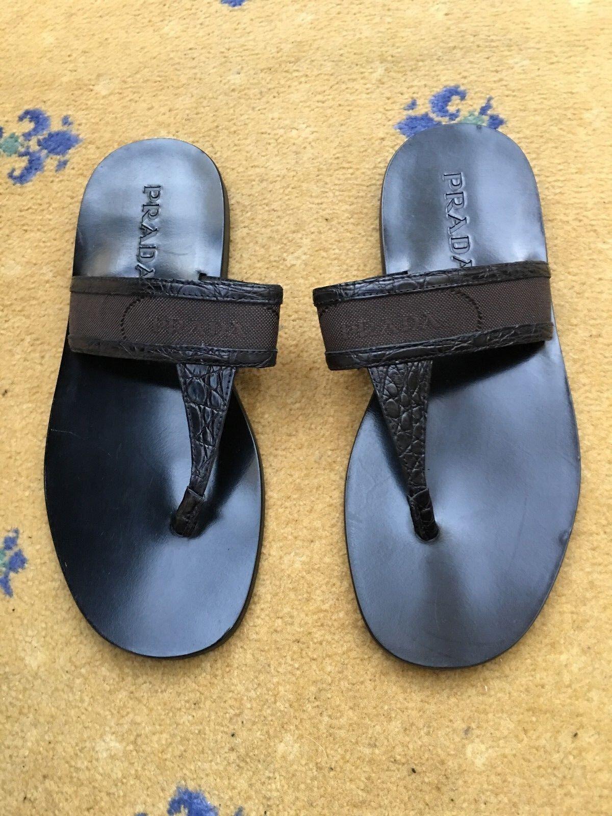 Prada da uomo sandali infradito in pelle nera coccodrillo in tela TG US 8 EU 41