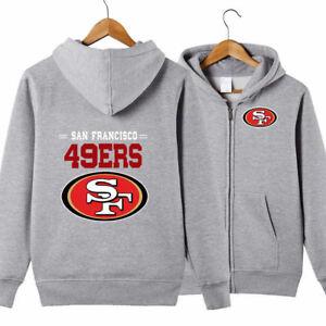 the best attitude 9bd86 bde8e Details about Hot San Francisco 49ers Hooded Hoodie Zip Front jacket coat  zip up Sweatshirts