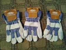 Lot Of 3 Pair Rugged Wear Leather Work Gloves Size Large New