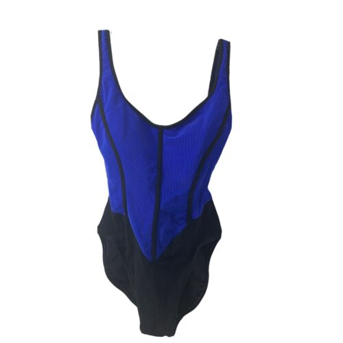 1990s Ribbed Small Jantzen Electric Blue One Piece Swimsuit Scoop back