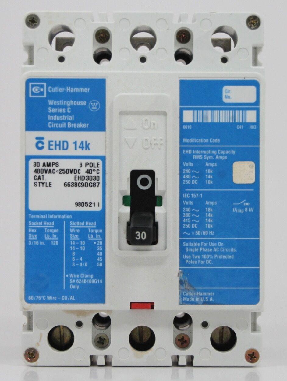 Eaton Cutler Hammer EHD3030 Type EHD Circuit Breaker 3 Pole 30 Amp ...