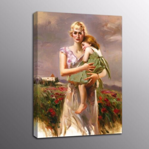 Large HD Canvas Prints Mother and girl Oil Painting Picture Home Decor Wall Art