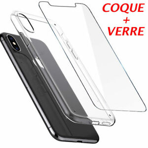 COQUE-HOUSSE-ETUI-TPU-GEL-IPHONE-6-5-7-8-X-PROTECTION-VITRE-VERRE-TREMPE-9H