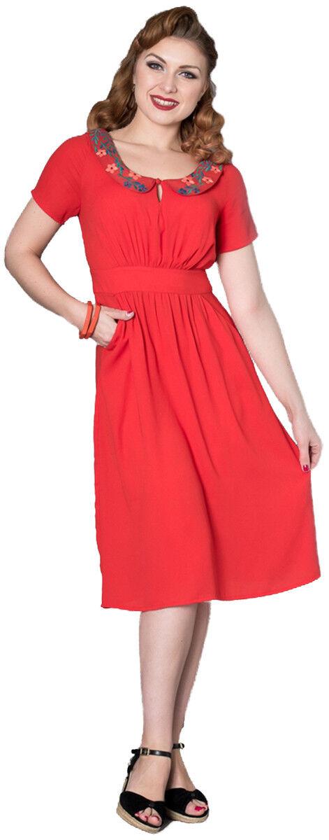 Sheen MAVIS Vintage FLORAL EMBROIDERY Kurzarm Retro Dress Kleid Rockabilly