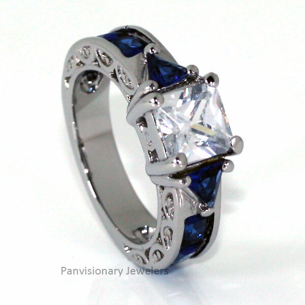 Thin Blue Line Engagement Ring Stainless Steel Princess Cut CZ Sapphire Accents