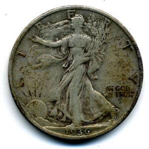 1936 S 50c Liberty Walking Silver Half Dollar US Coin VF Very Fine