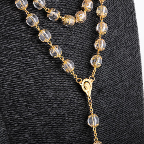 Women/'s 10mm Rosary Beads Long Chain Sweater Jesus Cross Pendant Necklace