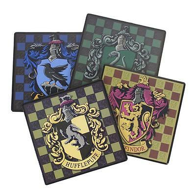 HARRY POTTER Licensed Deluxe HOGWARTS Mascots & House Crests 4pc COASTER SET