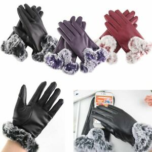 Gloves-Women-039-s-Genuine-Lambskin-Leather-Winter-Warm-Driving-Soft-Lining-Thermal