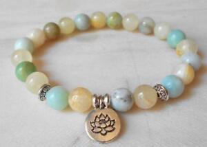 8mm-Amazonian-stone-bracelet-Lotus-pendant-Sutra-Bless-Bead-Chakas-mala-Stretchy