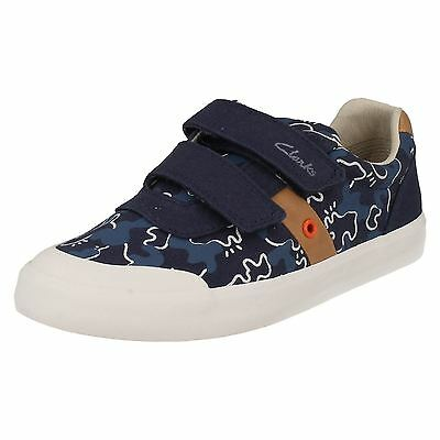 Infant Boys Clarks Comic Zone Inf Khaki Or Navy Strap Canvas Pumps