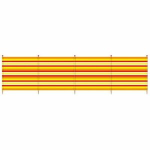 Yello-Orange-Stripes-4-Pole-Windbreak-H-120-x-W-224cm-Beach-Camping-Wind-Jammer