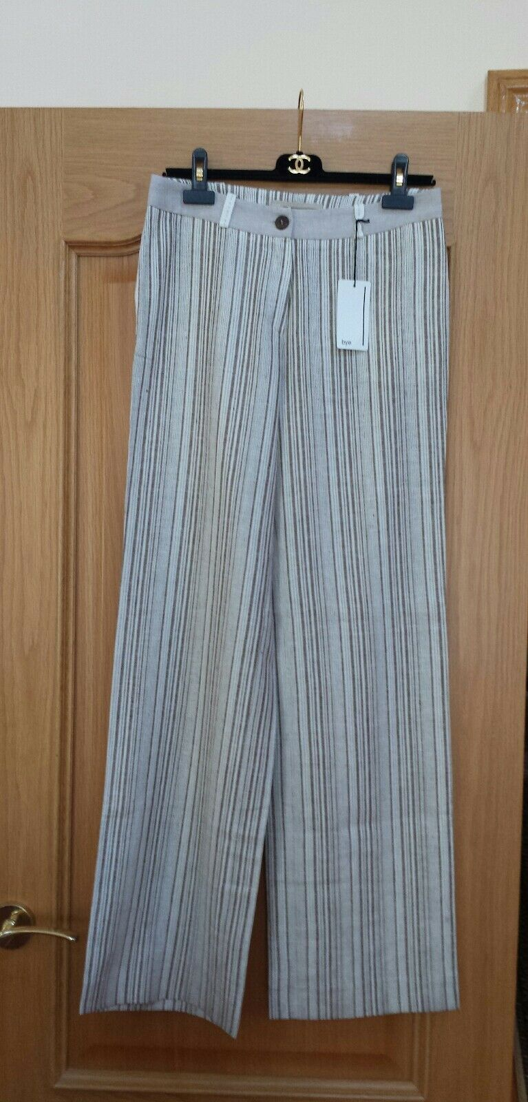 NEW 100% LINEN PANTS by BYE BRAND, grau & Weiß, EUR 38, US 6, STRIPED, FRANCE