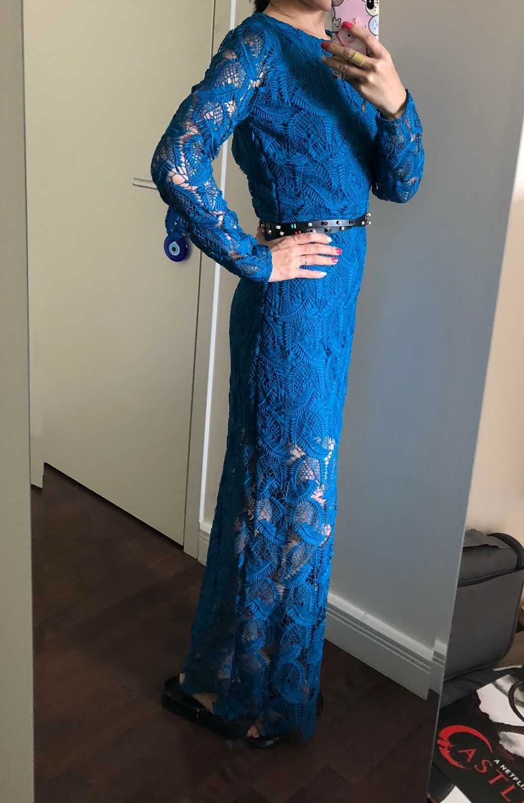 Maje lace bluee turquoise gown dress long sleeves size 1