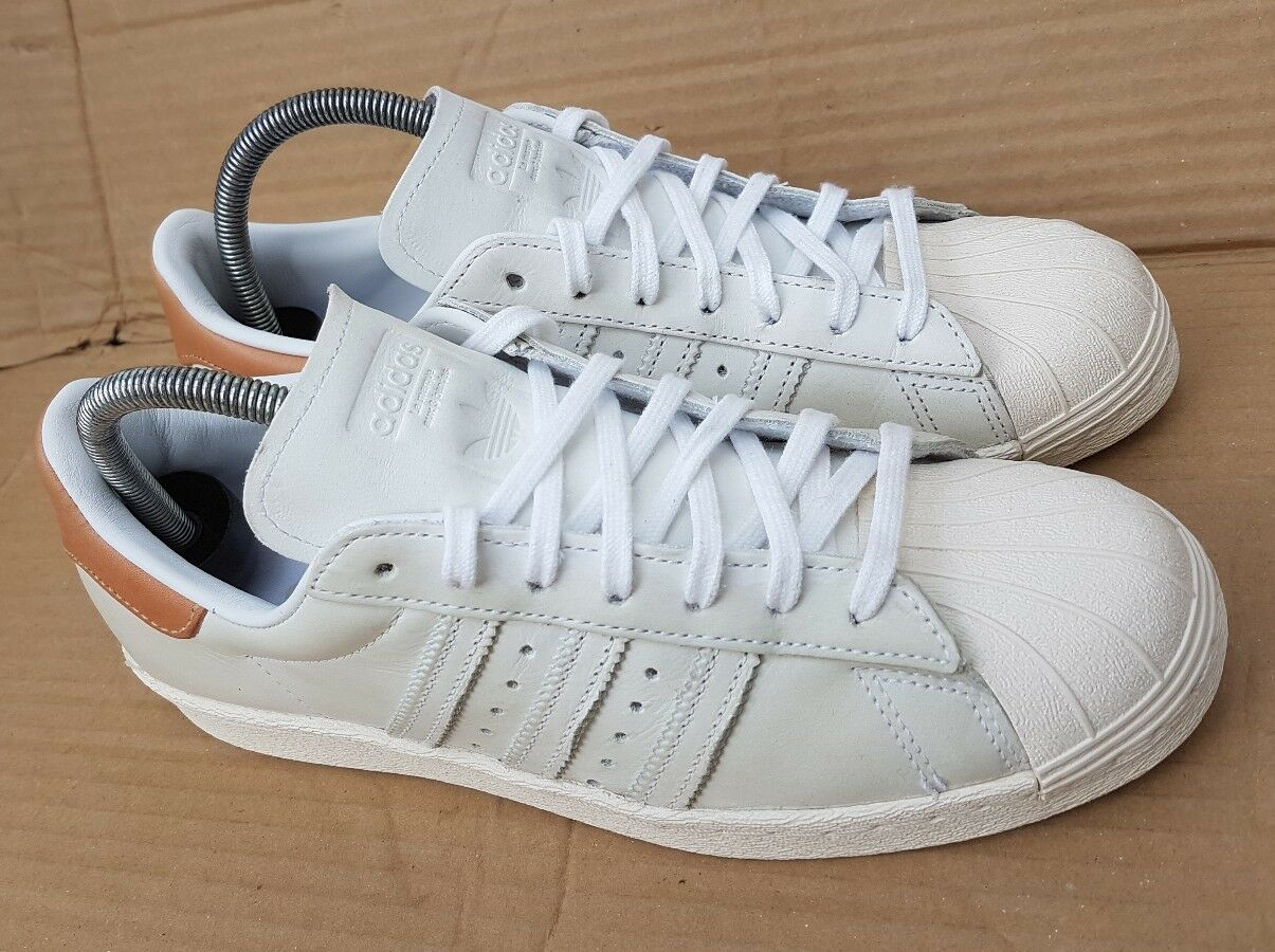 ADIDAS SUPERSTAR 80's TRAINERS SIZE 5.5 UK WORN ONCE IMMACULATE BEIGE BEIGE IMMACULATE TAN NUDE 79f8db