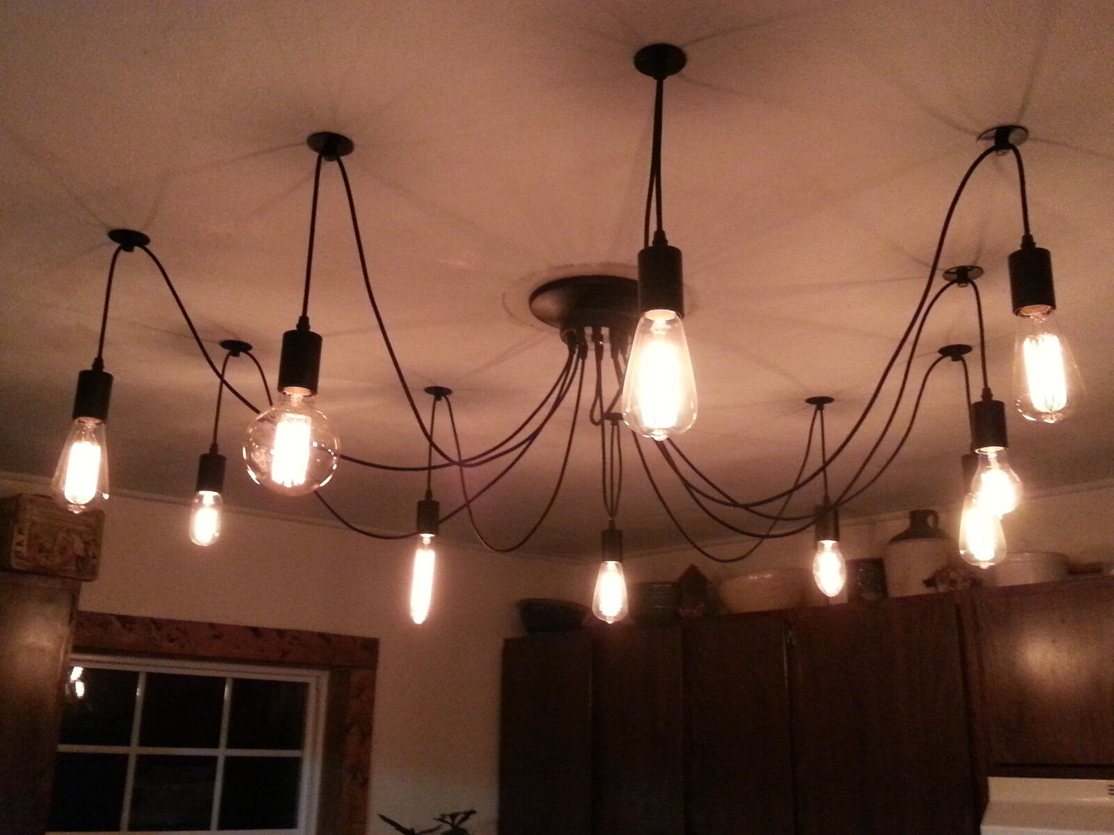 MUST GO   SLASHED PRICE    10 Wire Edison Chandelier + 10 Asst. Filament Bulbs