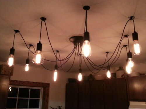 MUST GO! 10 Wire Edison Chandelier SLASHED PRICE!! Filament Bulbs 10 Asst