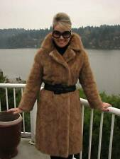 Autumn Haze MINK Coat Tan FUR LONG BROWN Jacket S #818A