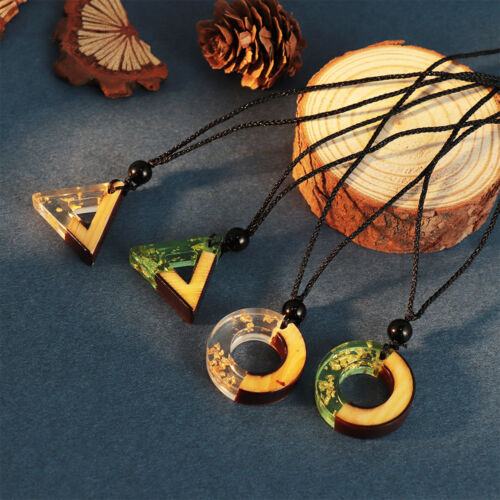 Fashion Unisex Handmade Resin Wood Pendant Necklace Rope Chain Wooden Jewelry~