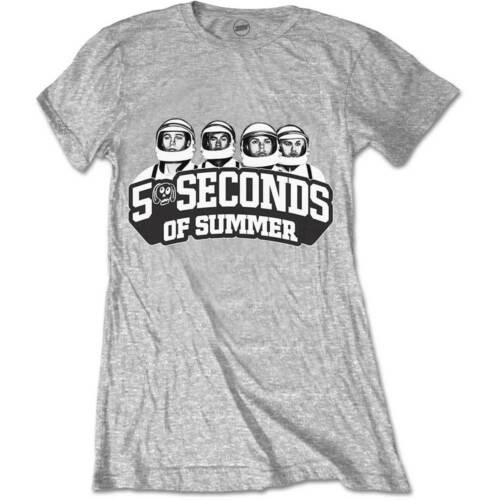 5 Seconds Of Summer 5SOS Spaced Out Crew Grey Ladies Womens T Shirt Official