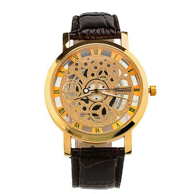 Luxury Men's PU Leather Band Quartz Stainless Steel Gold Sport Wrist Watch Gift