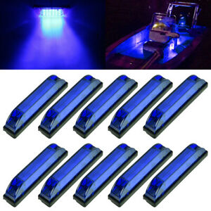 10x-Marine-Boat-Blue-LED-Utility-Strip-Light-Bar-Courtesy-Lights-6LED-12V-Sealed
