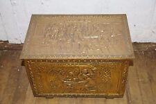 Antique - Vintage Dutch Brass Repoussé Wood Box Hinged