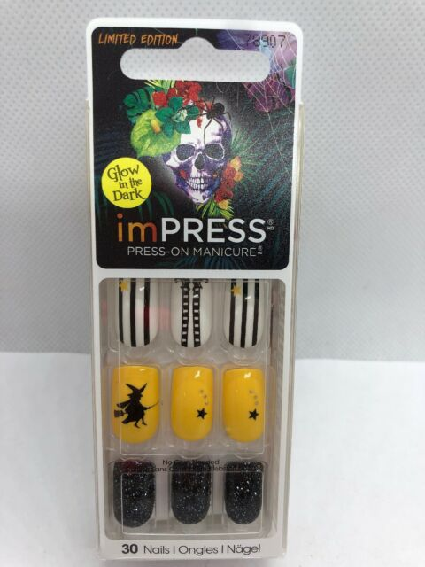 New imPRESS KISS Press-on Glow In The Dark Nails ...
