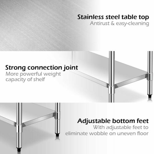 """Details about  /24/"""" x 36/"""" Stainless Steel Commercial Kitchen NSF Prep /& Work Table w// 4 Wheels"""