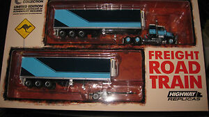 1-64-HIGHWAY-REPLICAS-KENWORTH-FREIGHT-ROAD-TRAIN-BLUE-TRUCK-amp-TRAILER-12005