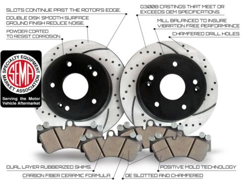 Performance Drilled and Slotted Disc Brake Rotors With Ceramic Pads Rear Kit