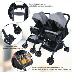 Besrey Double Stroller Pushchair Buggy Foldable Baby Pram with Backrest Push Handle and Large Basket+Rain Cover