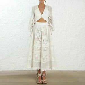 New-Arrival-Spring-Dress-V-neck-Lace-Women-Midi-Dress-Lantern-Sleeve-Dresses