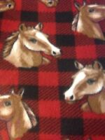 Horse Red/black Checkered Fleece 2 Yds. X 60
